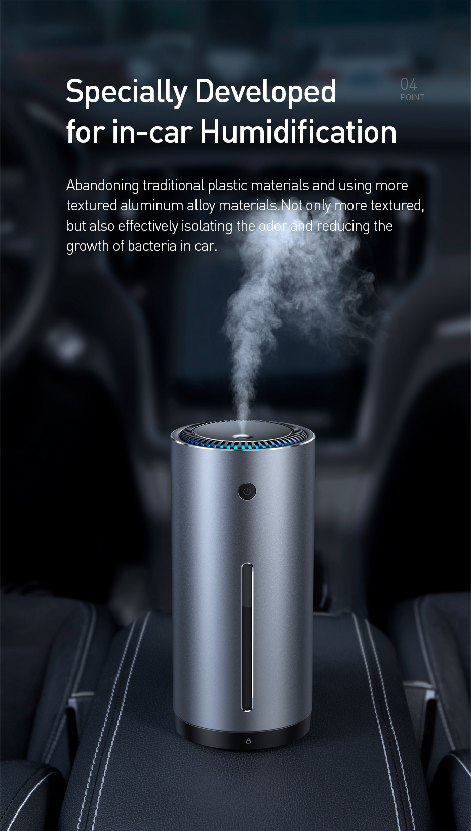 BASEUS Car Air Purifier with Essential Oil Aroma Diffuser and USB for Home and Office Air Purification 6