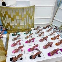 Sandalias con punta cuadrada y tacón alto para mujer, zapatos con diamantes de imitación, Punta abierta, copa de vino, novedad de verano 2021