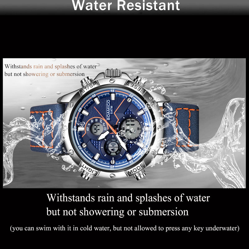 BOAMIGO Fashion Mens Watches for men Military Digital analog Quartz Chronograph sport Watch waterproof leather LED  reloj hombre 6