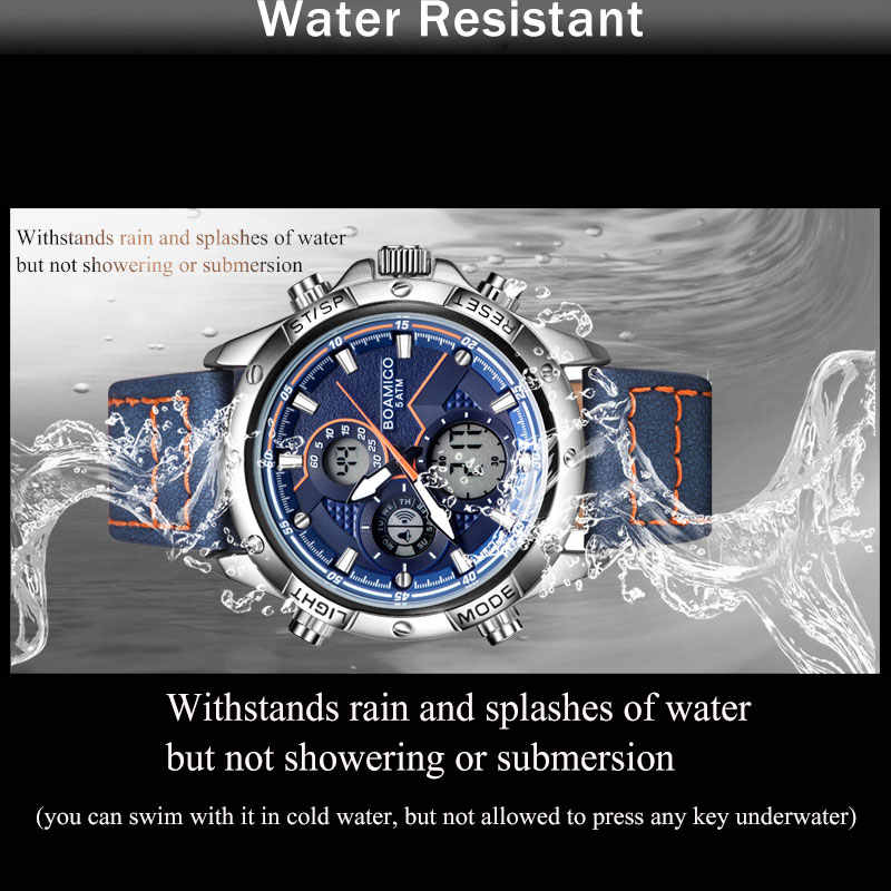BOAMIGO Mode Herren Uhren für männer Military Digital analog Quarz Chronograph sport Uhr wasserdicht leder LED reloj hombre