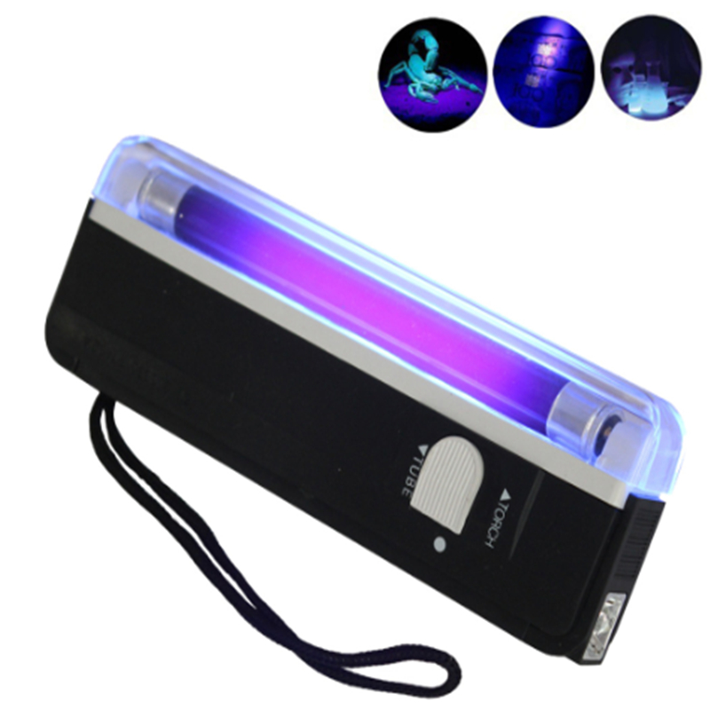 UV Flashlight Handheld 4W UV Black Light Torch Portable Blacklight With LED Counterfeit Money Check Portable Pocket Flashlight