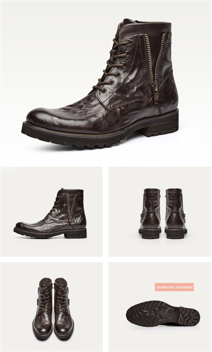 Cowskin Shoes Handmade Men Boots Fashion Shoes Classic Wild Stylish Unquie Boots (11)