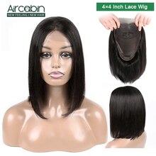 Aircabin 4x4 Lace Closure Human Hair Wigs 8-16 Brazilian Short Bob Wig Non Remy For Black Women Glueless
