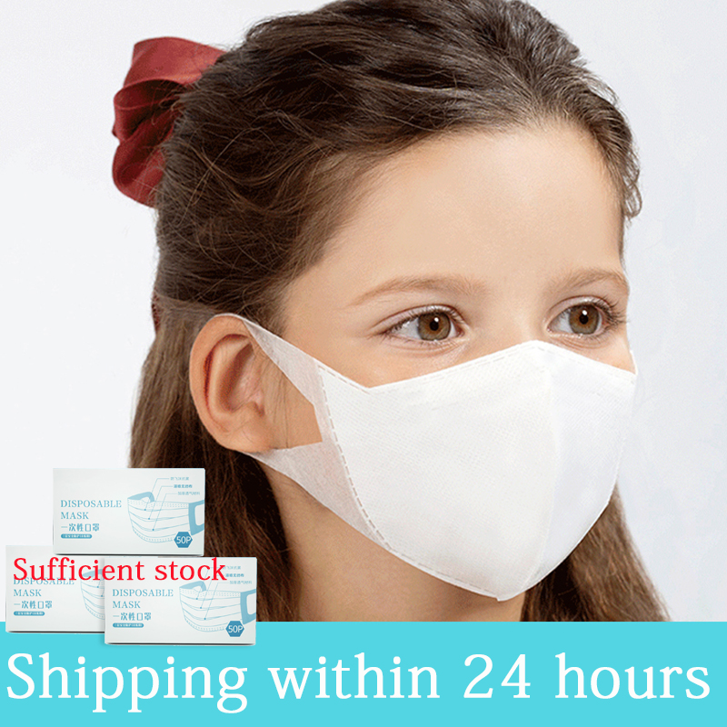50Pcs Disposable Children Kid Masks 3-layer 3D Breathable Mouth Mask Respirator Dustproof Mouth Muffle Antibacterial Health Care