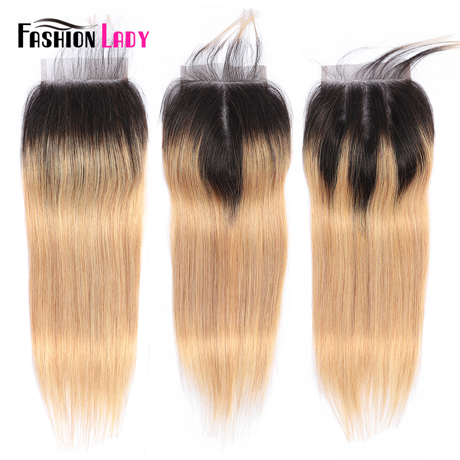 Fashion Lady Pre-Colored Peruvian Hair Ombre Closure 1b 27 100% Human Hair 4*4 Inches Straight Hair Closure Free Part Non-remy