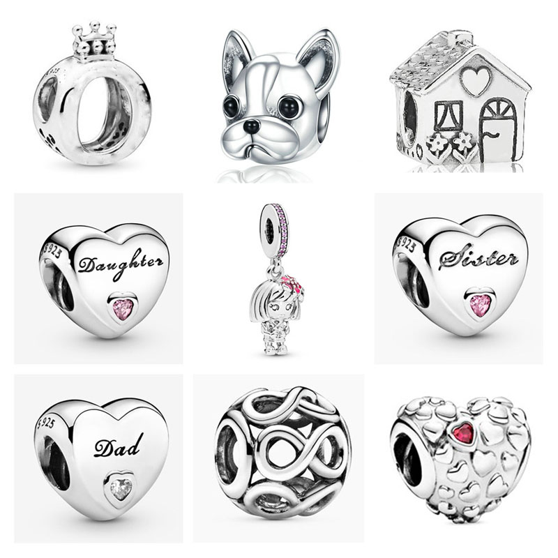 NEW 925 Sterling Silver crown pet dog family house sister daughter dad DIY bead Fit original Pandora Charm Bracelet Jewelry P015(China)