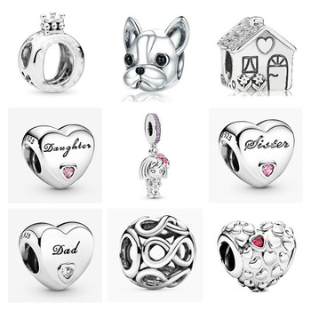 NEW 925 Sterling Silver Crown Pet Dog Family House Sister Daughter Dad DIY Bead Fit Original Pandora Charm Bracelet Jewelry P015