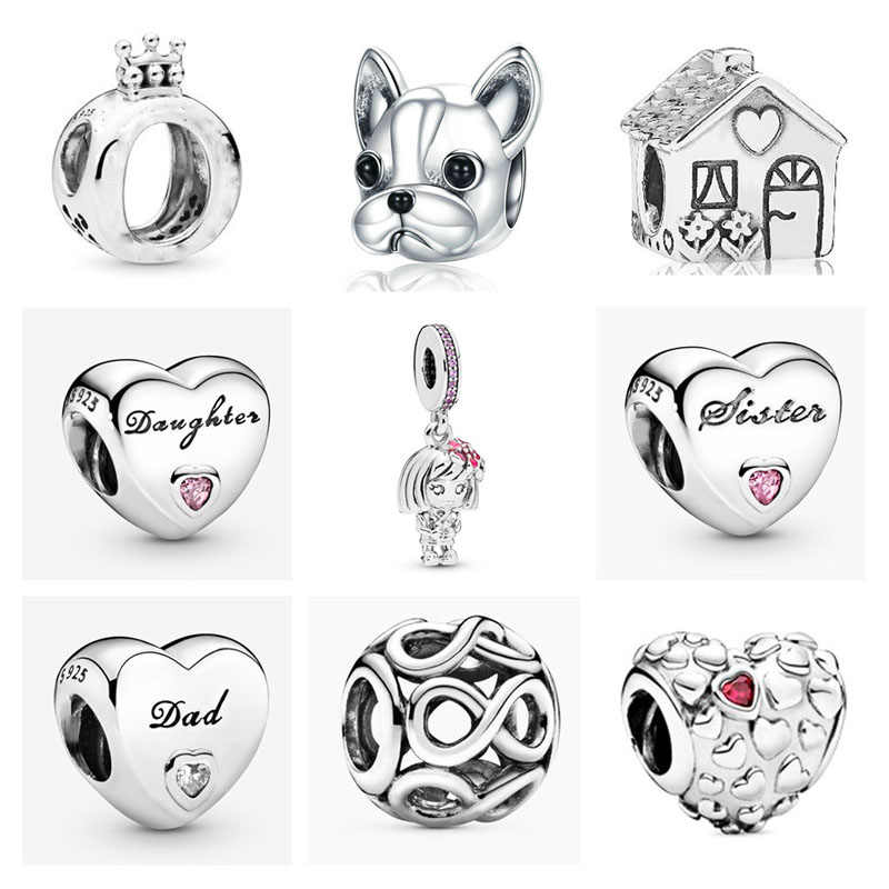 Nuovo 925 Sterling Silver crown pet dog family house sorella figlia papà fai da te tallone misura originale Pandora Charm bracciale gioielli P015