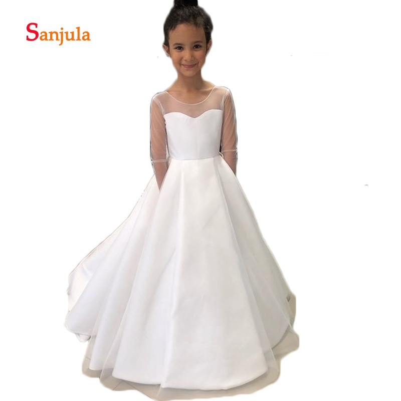 Sheer Tulle Long Sleeve Little   Flower     Girls     Dresses   Scoop A-Line White/Ivory First Communion   Dress   Backless D1220