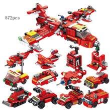 12in1 город противопожарного самолета строительные блоки мини