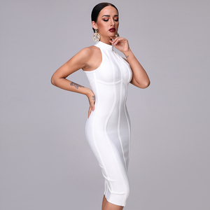 Image 5 - Женское платье без рукавов SUE DREAM, Белое Облегающее Платье с высоким воротом и длиной до колена, новинка 2020
