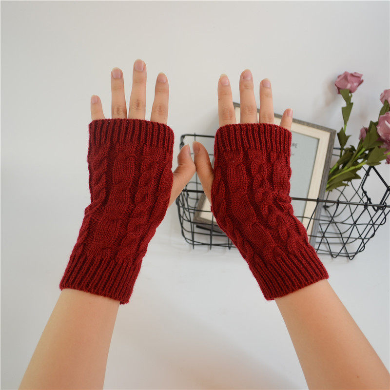 Fashion Twist Crochet Knitted Fingerless Arm Warmers Rainbow Color Winter Gloves FOR Women Long Costume Christmas Gifts Girls