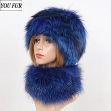 Fur Scarf Hats Hat-Sets Women Luxury Warm Winter Real Fashion Muffle-Cap Fox-Fur Knitted
