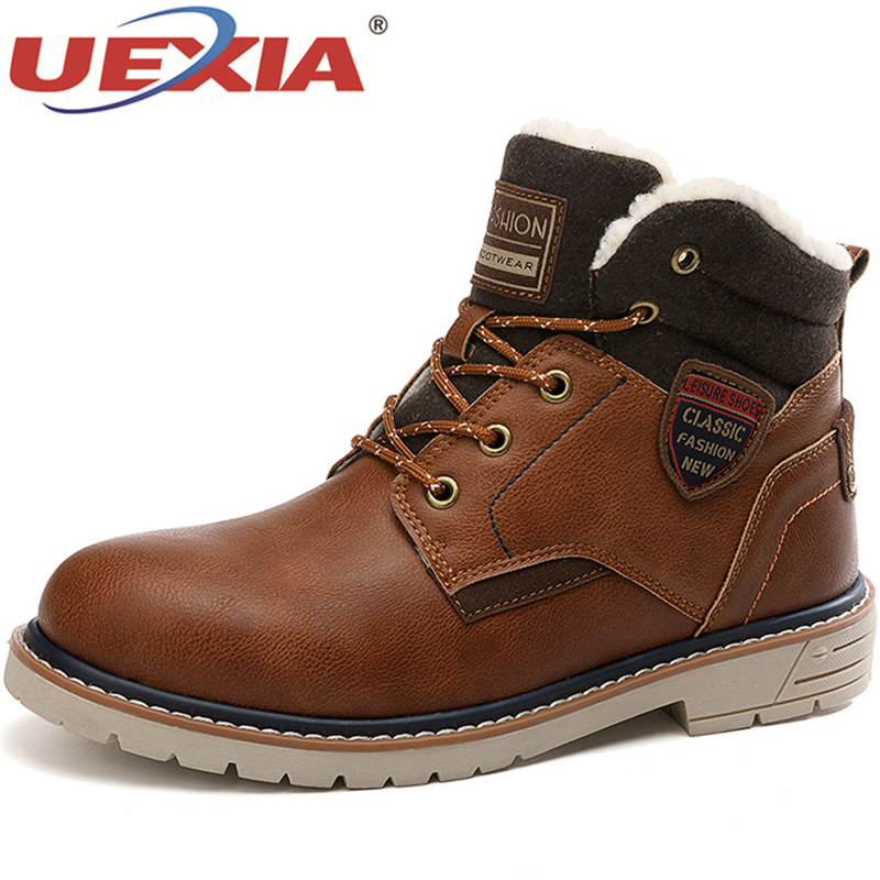 UEXIA Mens Shoes Motorcycle-Boots Chelsea Handmade Botas Winter New Warm Lace-Up Plush