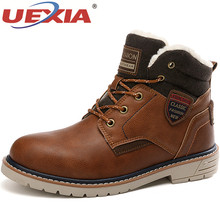 UEXIA 2019 New Men Warm Winter Plush Fur Snow Boots Lace-Up Motorcycle Boots Han