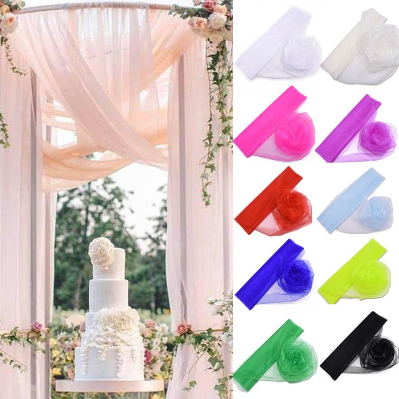 5/10M 48cm Wedding Organza Tulle Roll Sheer Crystal Yarn Tulle Fabric For Wedding Birthday Party Backdrop Decor DIY Baby Shower|Party DIY Decorations|   - AliExpress