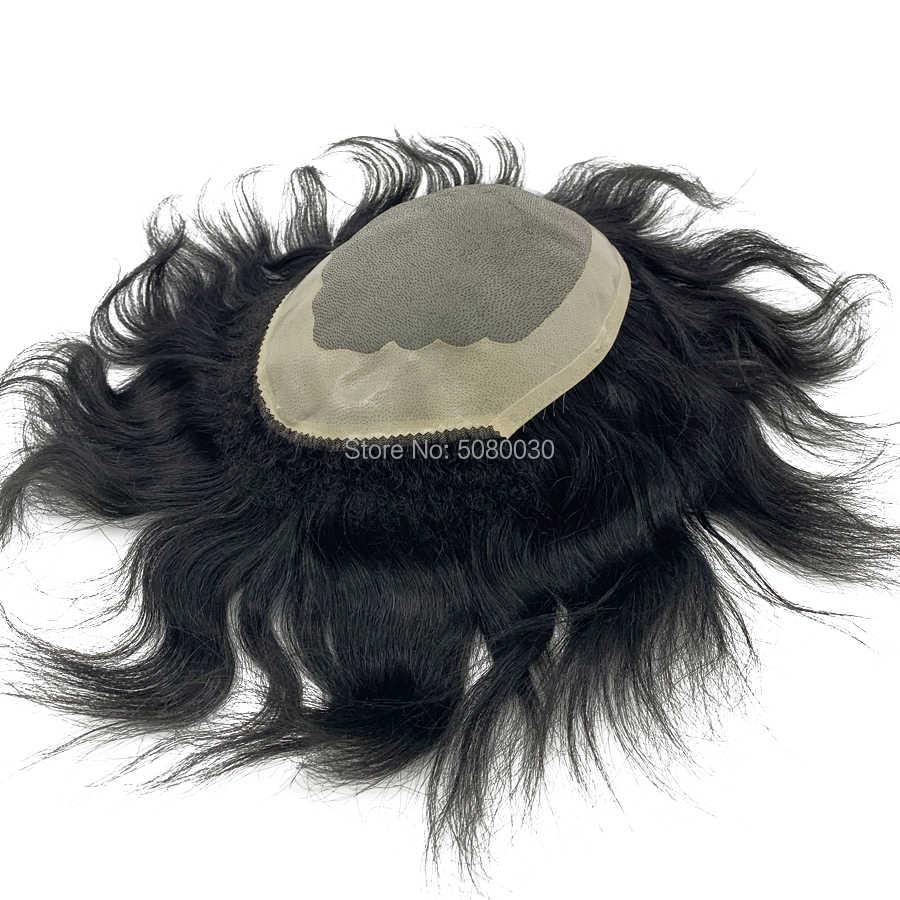 Hecho a medida mono de encaje alrededor de NPU para hombre base hairpieces envío gratis