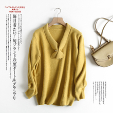 цена на Knitted Sweater Women Jumper Winter 2019 New Fashion v-neck solid Casual Thick mohair Pullover Fashion soft yellow knit top
