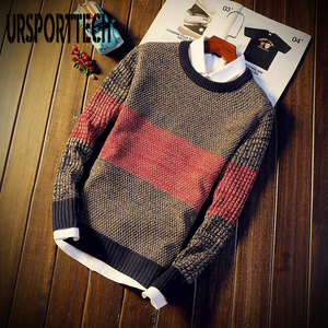2020 Autumn Casual Men's Sweater O-Neck Striped Slim Fit Knitted Mens Sweaters Pullovers Knittwear Pullover Men Pull Homme M-XXL