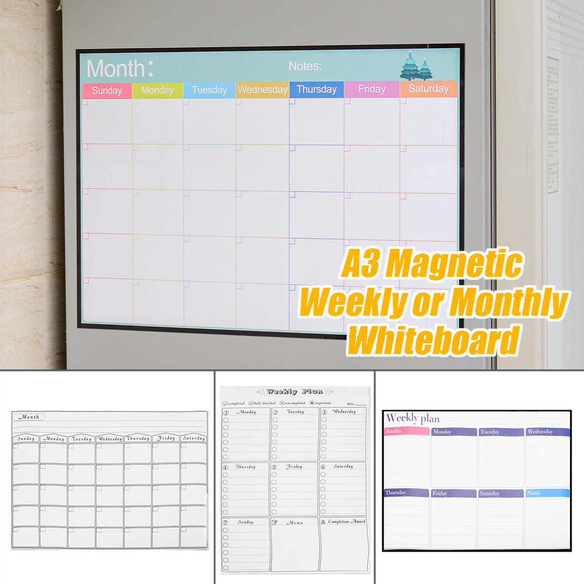 Magnetic Fridge Wall Art Sticker Calendar Monthly Weekly Planner A3 White Board Fridge Magnets Message Board Remind Memo