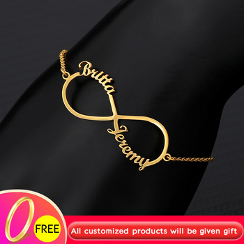 Personalized Bracelet Pulseras Mujer Stainless steel Charms Custom Name Infinite Bracelets for Women Cursive Armband BFF Jewelry personalized custom infinite name bracelet silver gold chain stainless steel nameplate charms couple jewelry for women men