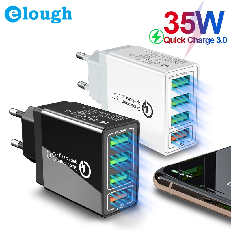 Elough 35W Quick Charge 3.0 4 USB Charger For IPhone 11 7 Samsung S9 Huawei Xiaomi QC3.0 EU US UK Fast Wall Mobile Phone Charger