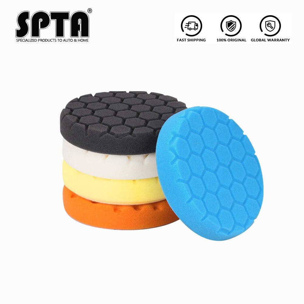 """Spta 3.5 """"(90mm)/5.5""""(135mm)/6.5 """"(165mm)/7""""(180mm) almofadas de polimento hex-lógica & almofadas de polimento para ro/da/ga polidor de carro de ação dupla"""