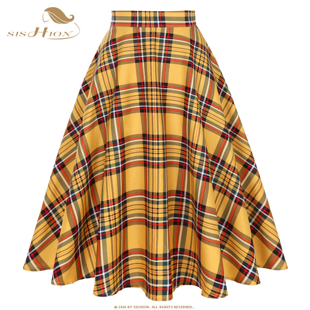 SISHION Yellow Red Plaid High Waist Midi Skirts Jupe Femme SS0006 Plus Size A Line 2019 Winter Swing Women Vintage Plaid Skirt