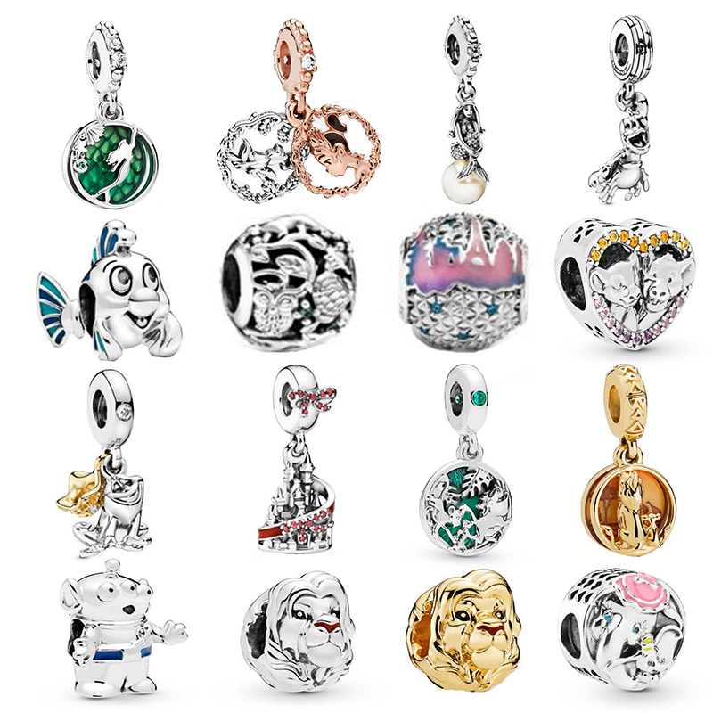 Diseny Ariel Charm 100% Real 925 Sterling Silver Round Charms Diseny Charms Fit Brand Bracelet Diy Jewelry