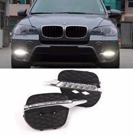 자동차 스타일링 2x 화이트 LED DRL 주간 러닝 라이트 포그 라이트 실행 램프 BMW X5 E70 2011 2012 2013