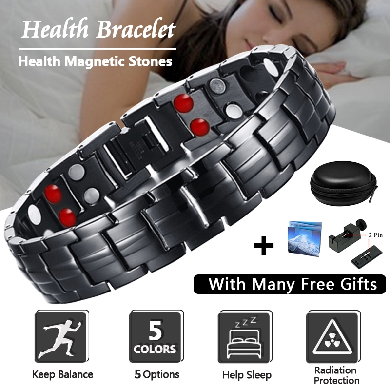 Men's Black Healing Magnetic Bracelet For Men Magnets Negative Ions Germanium Health Stainless Steel Bracelets Jewelry
