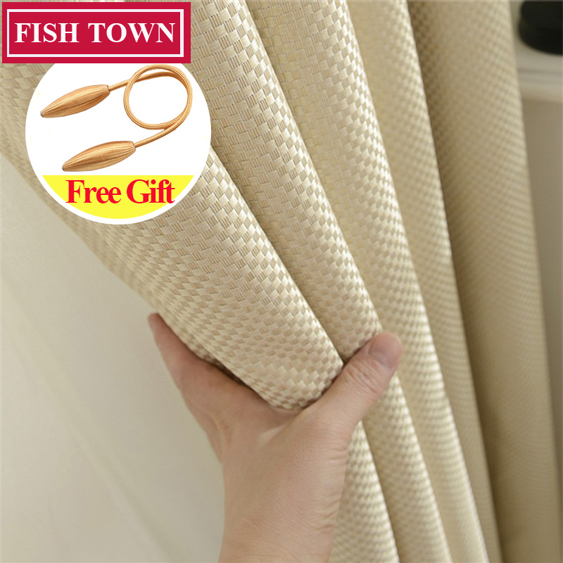 Fish Town Faux Linen Blackout Curtain Window Treatment Drape Square Style Curtains Blinds for Bedroom Living Room Custom Made