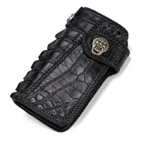 100% Genuine Crocodile Skin Men Black Long Style Card Holder Clutch Wallet Coin Pocket Exotic Alligator Leather Man Large Purse