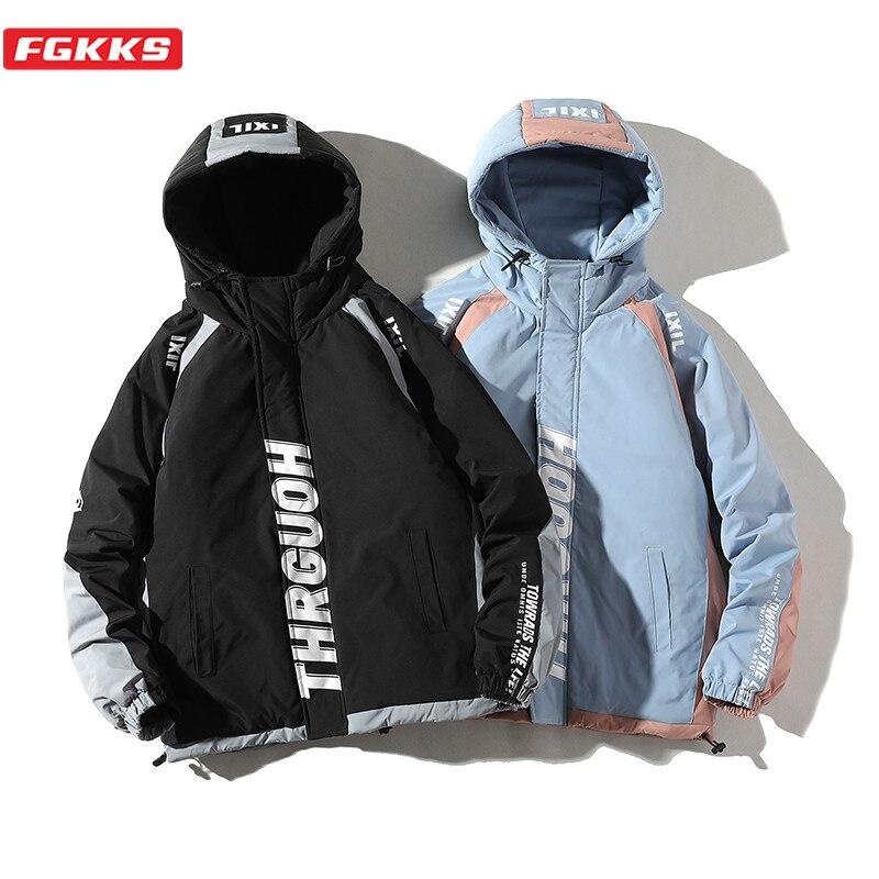 FGKKS Winter Brand Men Fashion Parkas Men's Letter Print Hooded Parka Male Harajuku Style Thick Warm Parka Coat
