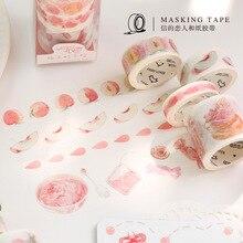 Письмо влюбленных персикового цвета есть не употреблять в пищу серии комплект лента Washi творческий ручка Для женщин DIY декоративный Стикеры 4 участвуют в
