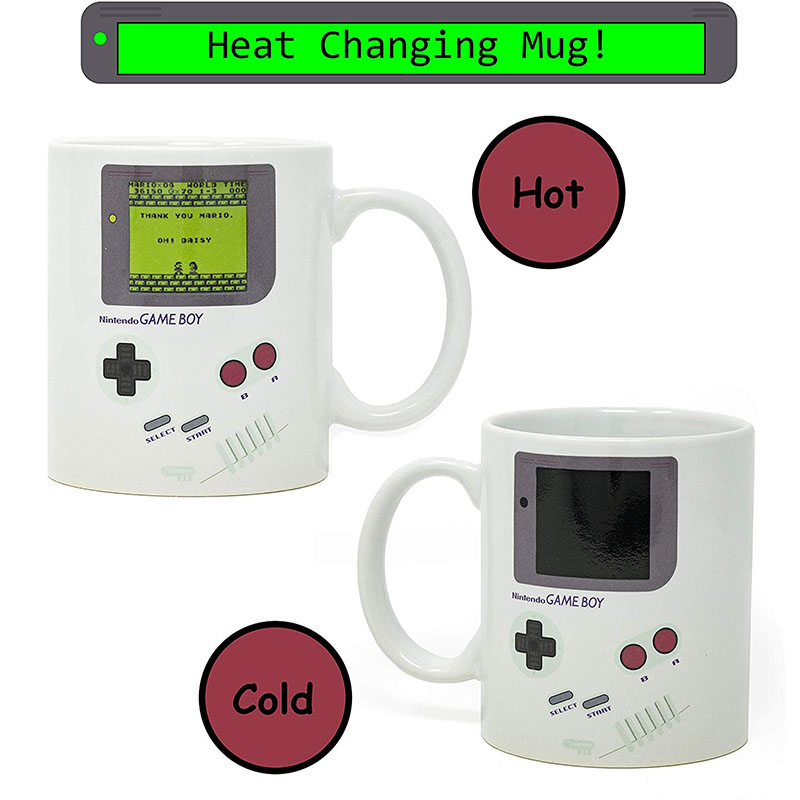 Gameboy Heat Changing Coffee Mug Classic Video Game Themed Games Console Ceramic Retro Travel Tea Cup Gift for Gamers Fathers