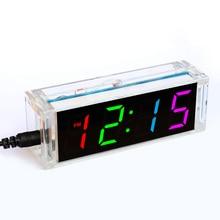 DIY ערכת שעון 4 צינור דיגיטלי ססגוניות LED זמן טמפרטורת שבוע תאריך תצוגת עם מקרה ברור כיסוי diy sodering פרויקט