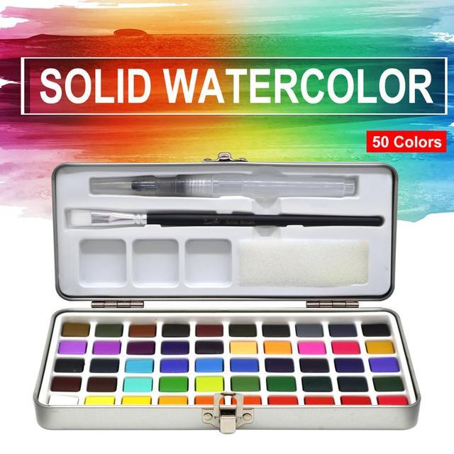 הגעה חדשה 50 צבע שקוף מוצק בצבעי מים נייד צבע בצבעי מים לילדים ציור בצבעי מים נייר ספקי