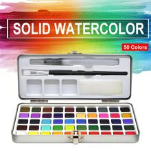 Yeni varış 50 renkli şeffaf katı suluboya taşınabilir suluboya Pigment çocuklar için çizim suluboya kağıt malzemeleri