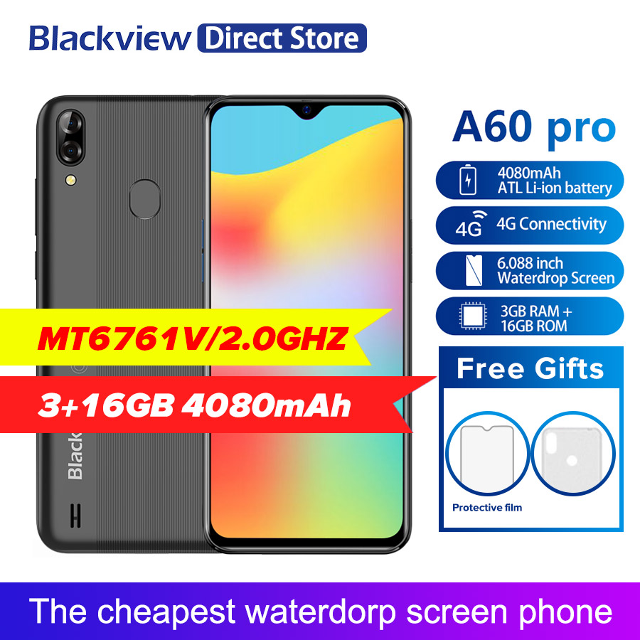 Blackview A60 Pro Smartphone Quad Core Android 9 0 Pie 4080mAh Cellphone 3GB 16GB Waterdrop Screen