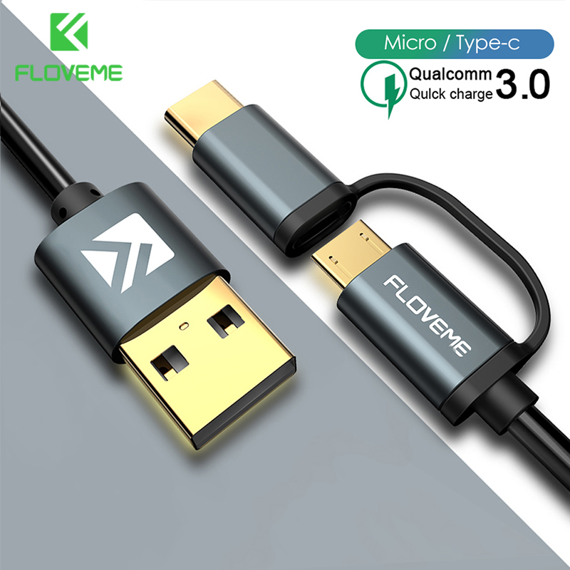 FLOVEME QC3.0 USB Charge Cable Type C Cable For IPhone X Xs Max  2 In 1 USB C Cable Fast Charging Micro USB Cable For Phone