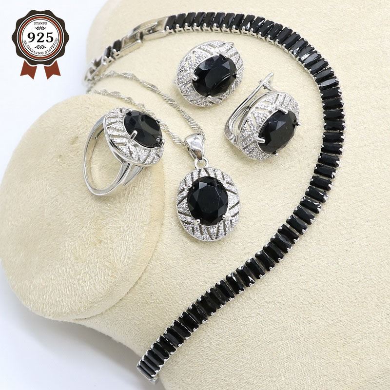 Jewelry-Set Necklace Pendant-Ring Hoop-Earrings Zircon Bracelet 925-Sterling-Silver Women