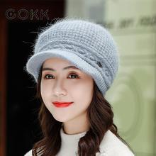 COKK Winter New Warm Knitted Beret Wool Hat Female Short Brim Solid Color Korean Velvet Thick Rabbit Fur Cap Womens Hats