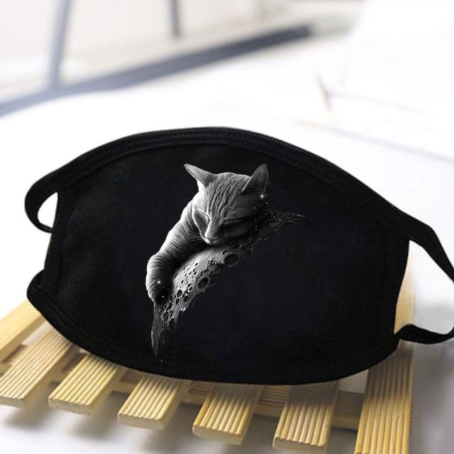 Mens/Women Cartoon Cute Cat Sloth Nope Reusable Face Soft Masks Comfortable Black Mask High Quality Antibacterial Dustproof Mask 1