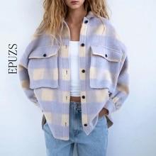 Wool Coat Jacket Outerwear Oversize Long-Sleeve Vintage Fashion Women Ladies And