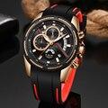 Relogio Masculino LUIK Luxe Quartz Horloge voor Mannen Blauwe Wijzerplaat Horloges Sport Horloges Maanfase Chronograaf Mesh Riem Polshorloge