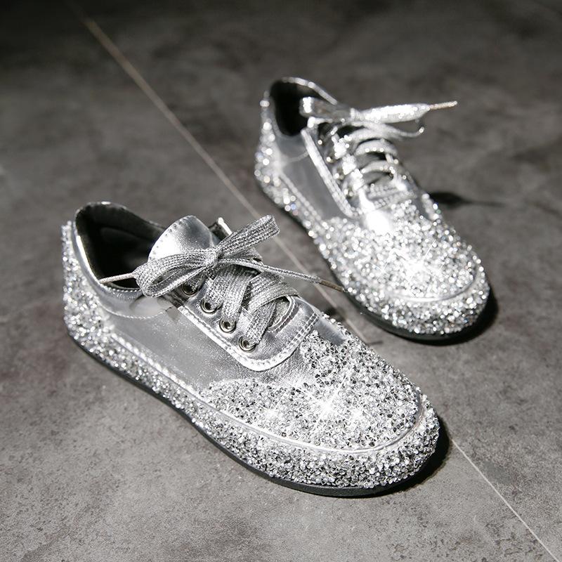 Women Shoes Metallic Lace Up Fashion Sneaker Rhinestone Sequins Flat Shoes Round Toe Glitter Comfortable Sport Shoes Casual Shoe