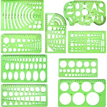 9pcs Geometric Rulers Drawings Templates Measuring Clear Green Rulers School Office Supplies Multiple Specifications Convenient