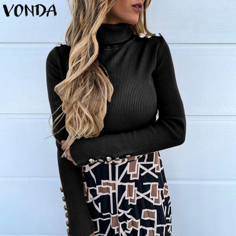 VONDA Women Sweaters Casual Fit Slim Long Sleeve Turtleneck Knitted Blouse 2020 Winter Autumn Top Knitwear Pullovers Plus Size
