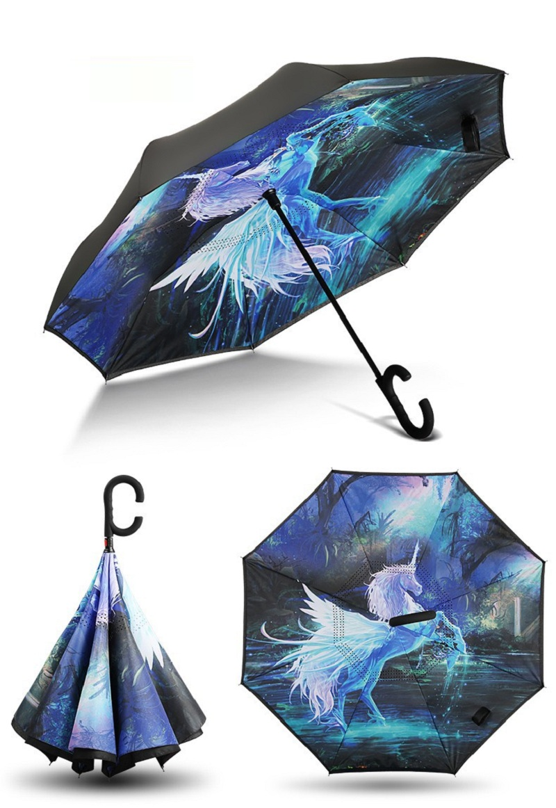 AHOMY Inverted Reverse Umbrella Marble Pattern Windproof for Car Rain Outdoor